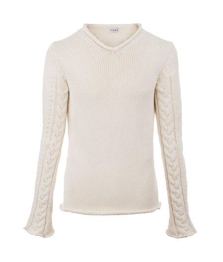 LOEWE Cable Knit Sweater Optic White all
