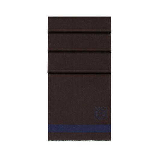 LOEWE 45X200 Stripes Scarf Brown/Navy Blue all