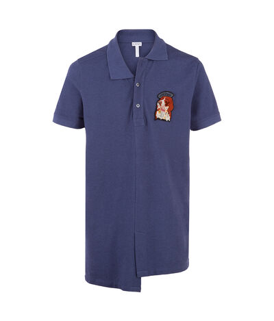 LOEWE Asymetric Polo Dog Washed Cobalt front