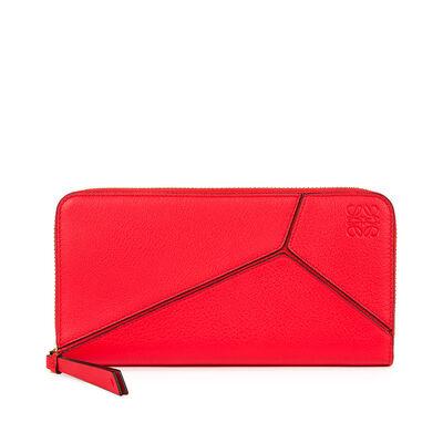 LOEWE Puzzle Zip Around Wallet Red front