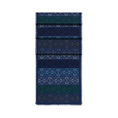 LOEWE 45X200 Anagram In Lines Scarf indigo blue front