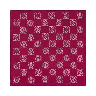 LOEWE 90X90 Anagram All Over Scarf Fuchsia front