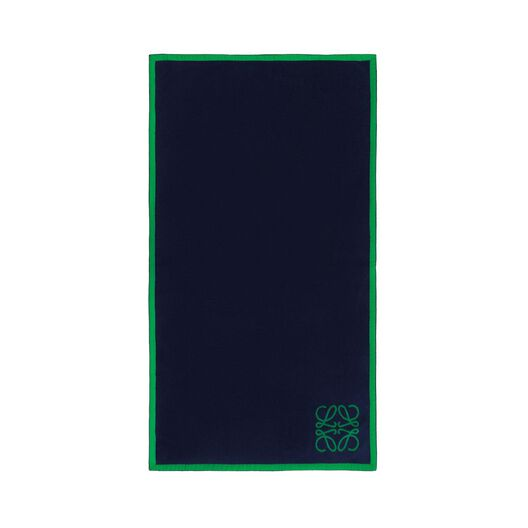 LOEWE Small Anagram Jacquard Towel Green/Navy Blue all