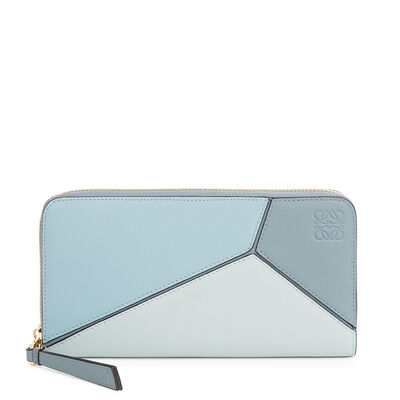 LOEWE Puzzle Zip Around Wallet Aqua/Light Blue/Stone Blue front