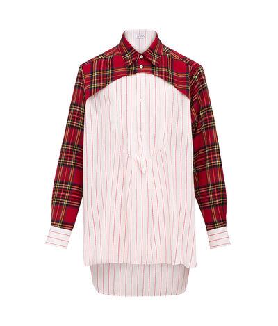 LOEWE Long Tunic Tartan & Stripes White/Red front
