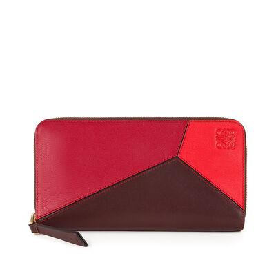 LOEWE Puzzle Zip Around Wallet Red Multitone front
