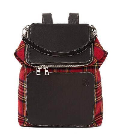 LOEWE Goya Tartan Backpack Black/Red Tartan front