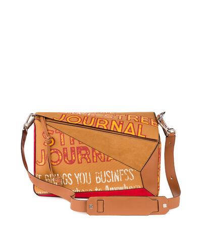 LOEWE Puzzle Xl Street Journal Bag Tan/Caramel/Red front