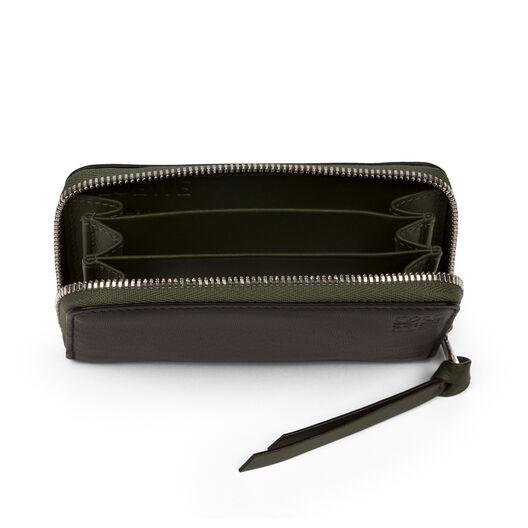 LOEWE Zip Card Holder Black/Kakhi Green all