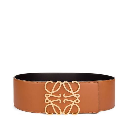 LOEWE Cinturon Anagrama 8Cm Bronceado/Negro/Oro all