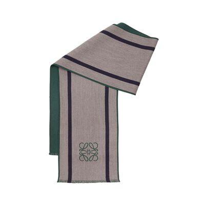 LOEWE 30X200 Anagrama&Stripes Scarf Grey/Green front