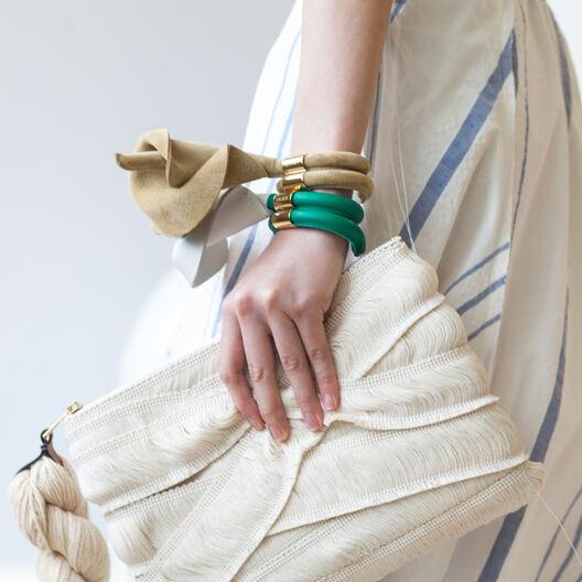 LOEWE Calla Flower Bracelet White/Gold/Green all