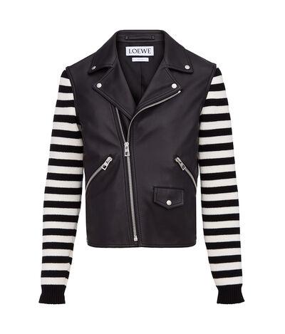 LOEWE Biker Jacket Knit Sleeves Black front