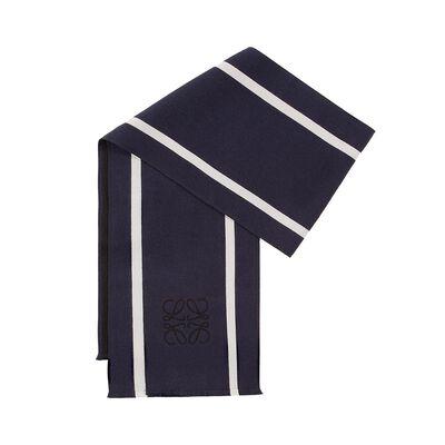 LOEWE 30X200 Anagrama&Stripes Scarf Black/White front