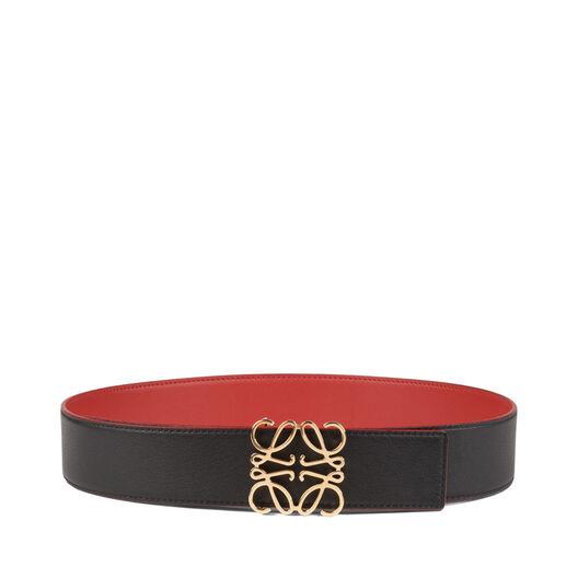 LOEWE Cinturon Anagrama 4Cm Rojo/Negro/Oro all