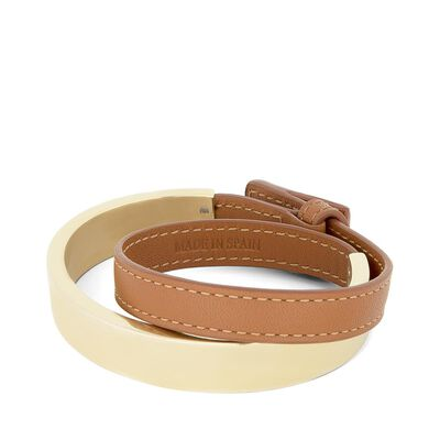 LOEWE Leather Double Bangle Gold/Tan front