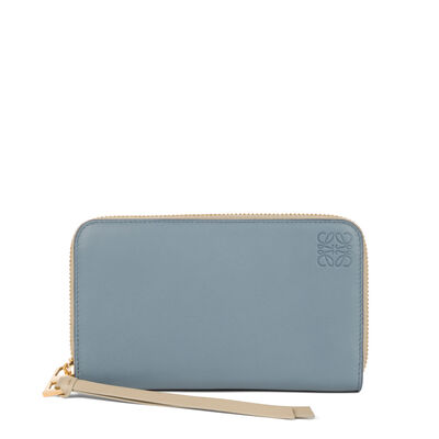 LOEWE Medium Zip Around Stone Blue/Ivory front