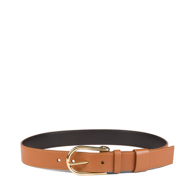 LOEWE Saddle Buckle Belt Tan/Gold front