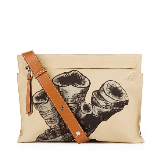 LOEWE T Messenger Fossil Print Bag Natural White/Tan all
