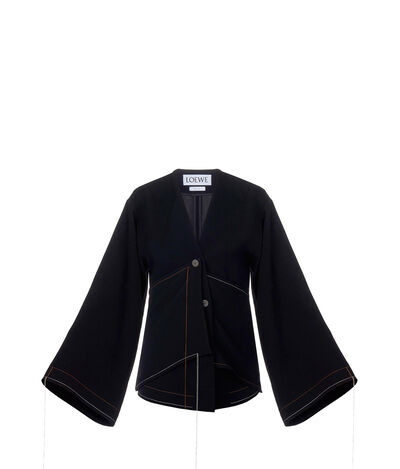 LOEWE Jacket Draped Contrast Stitch Black front