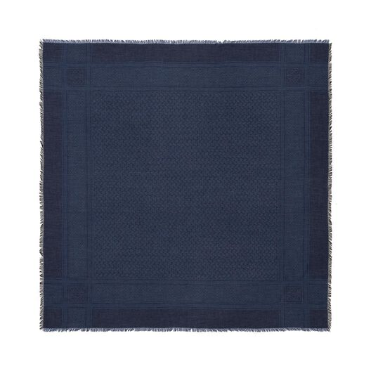 LOEWE 120X120 Kefiyeh Scarf Navy Blue/Black all
