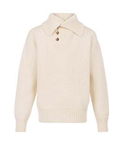 LOEWE Shawl Collar Sweater Off-White front