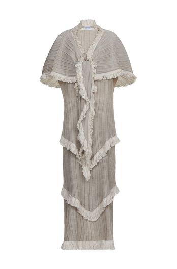 Shawl Pleated Tiered Dress