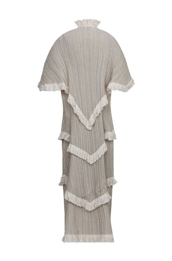 Shawl Pleated Tiered Dress