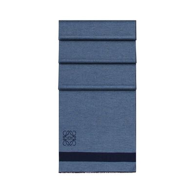 LOEWE 45X200 Stripes Scarf Navy Blue/Blue front