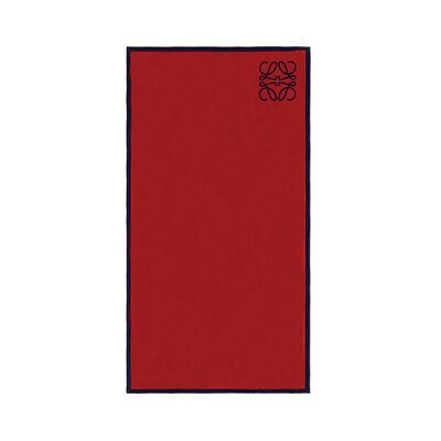 LOEWE Small Anagram Jacquard Towel Red/Navy front