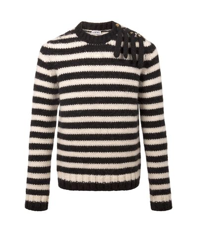 LOEWE Chunky Knit Button Crewneck Navy/White front