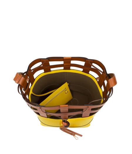 LOEWE T Bucket Bag Basketweave Top Yellow/Tan all