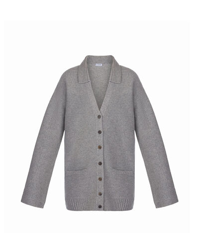 LOEWE Poloneck Cardigan Grey front