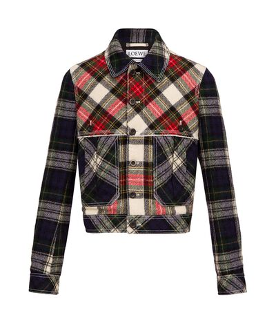 LOEWE Button Jacket Tartan Patchwork Multicolour front