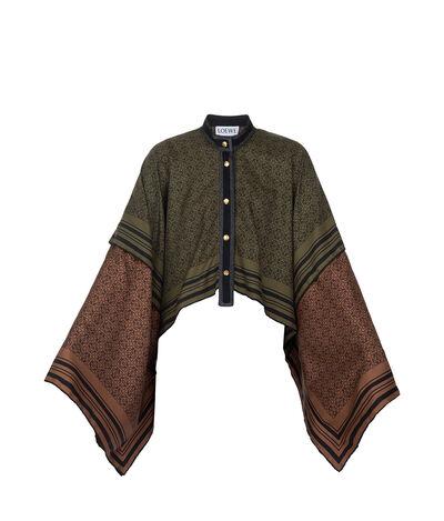 LOEWE Jacket Anagram Silk Green/Camel front