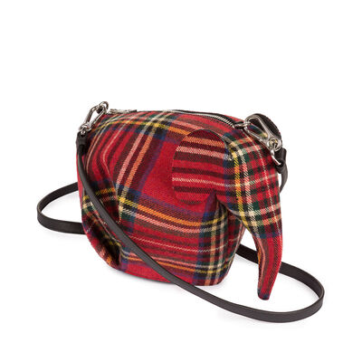LOEWE Elephant Mini Bag Red Tartan front