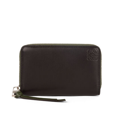 LOEWE Zip Card Holder Black/Kakhi Green front