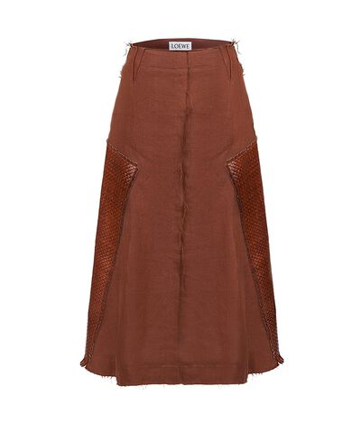 Skirt W/ Woven Leather Panels