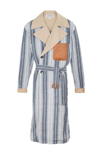 LOEWE Coat Stripes Contrasted Collar Blue/White all