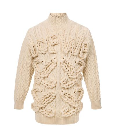 LOEWE Cable High Neck Sweater Loewe Off-White front