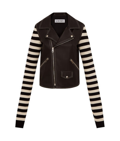 LOEWE Biker Jacket Knit Sleeves Black front