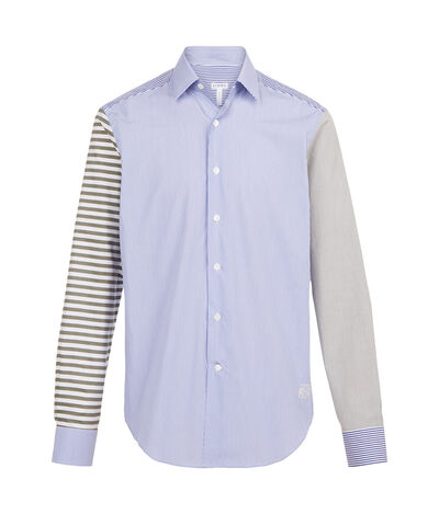 LOEWE Shirt Patchwork Stripes White/Blue/Khaki front