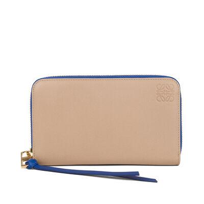 LOEWE Medium Zip Around Sand/Electric Blue front