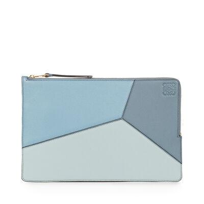 LOEWE Puzzle Flat Pouch Aqua/Light Blue/Stone Blue front