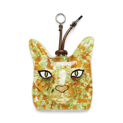 LOEWE Cat Face Charm Orange/Green front