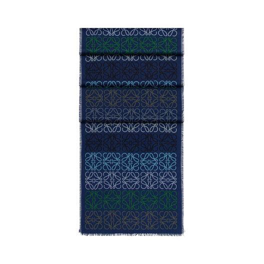 LOEWE 45X200 Anagram In Lines Scarf Indigo Blue all