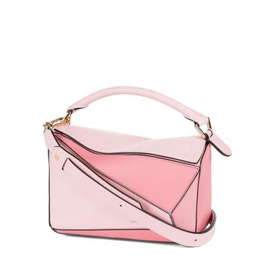 LOEWE Puzzle Small Bag Soft Pink/Candy/Dark Pink front