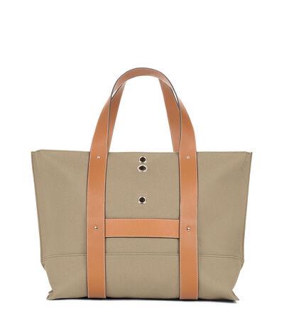LOEWE Eyelet Tote Bag Khaki Green front