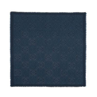 LOEWE 120X120 Damero Scarf Indigo Blue front