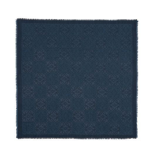 LOEWE 120X120 Pañuelo Damero Azul Indigo all